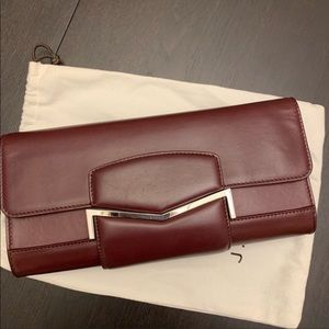 J Mendel Calf Skin Bordeaux Clutch with Dust Bag